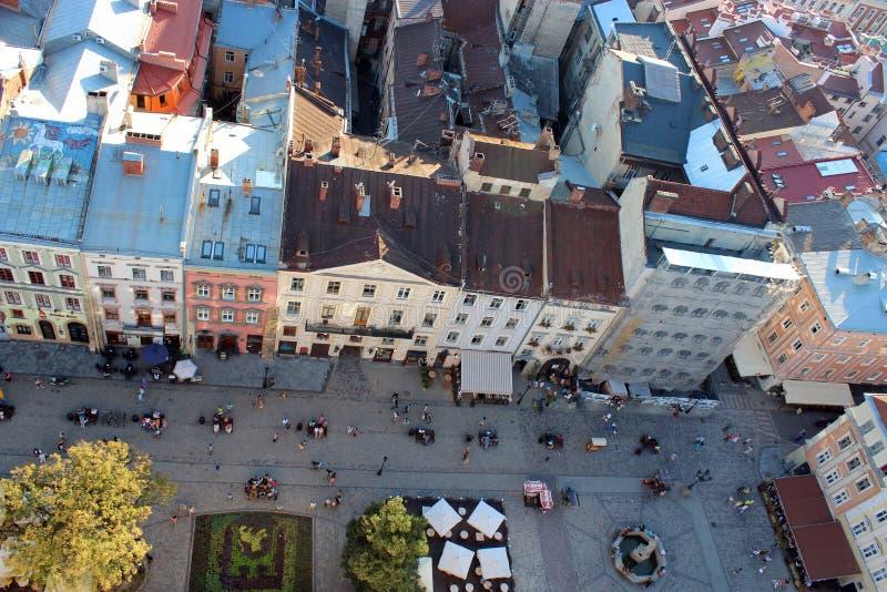 Hausdächer von Lvov-Stadt von der Panoramasicht stockfotografie