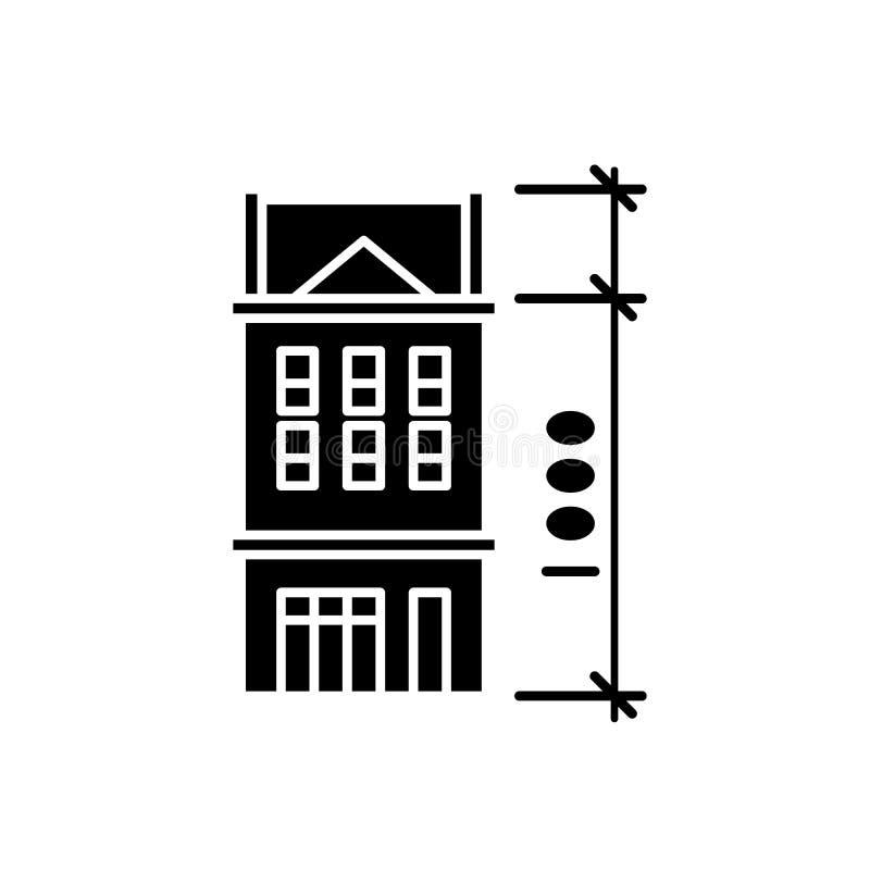 Hauseigenschaften schwarze Ikone, Vektorzeichen auf lokalisiertem Hintergrund Hauseigenschafts-Konzeptsymbol, Illustration stock abbildung