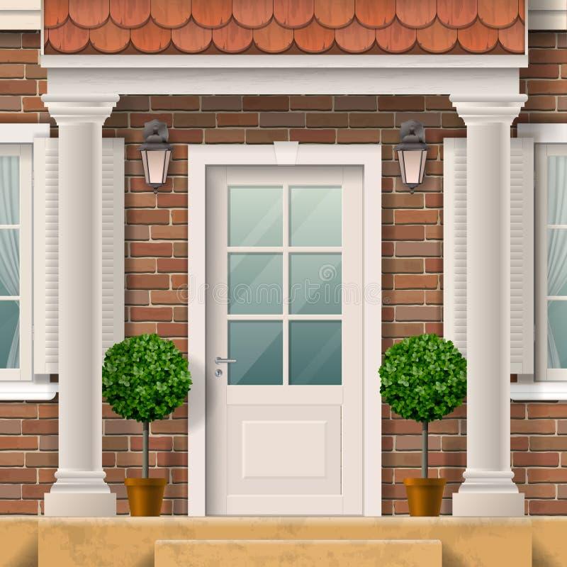 Hauseingang mit Spalten stock abbildung