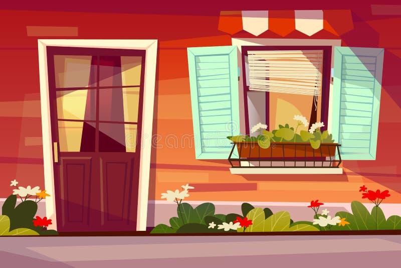 Hauseingangsfassaden-Vektorillustration stock abbildung