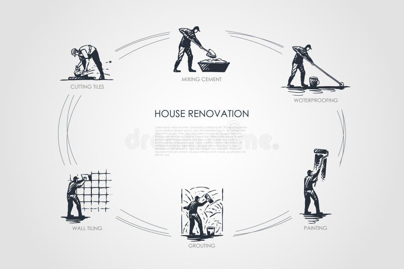 Hauserneuerung - Schnitt von Fliesen, mischender Zement, imprägniernd, Malen und überziehen, Wand, die Vektorkonzeptsatz mit Zieg lizenzfreie abbildung