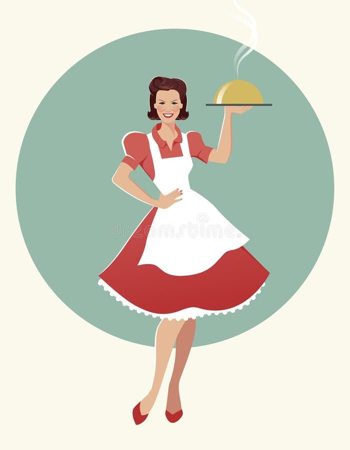 Hausfrau, die einen Behälter mit Abendessen trägt Retro- Art stock abbildung