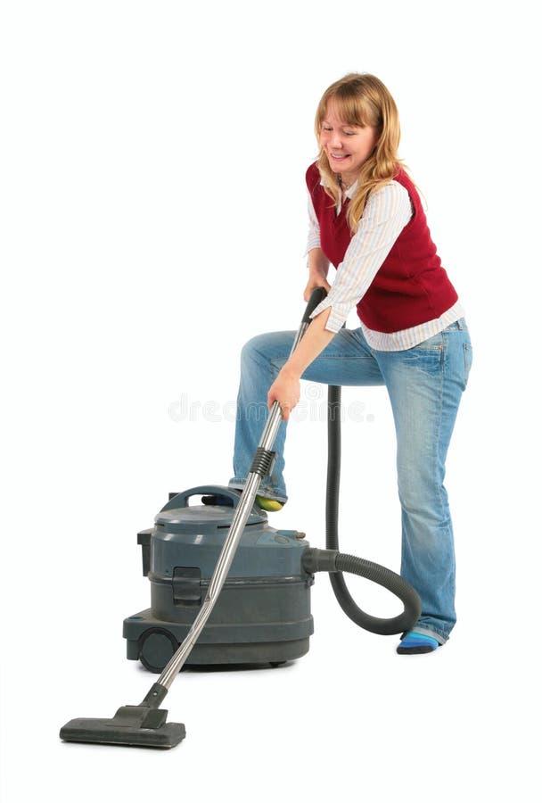 Hausfrau mit Staubsauger lizenzfreie stockfotos