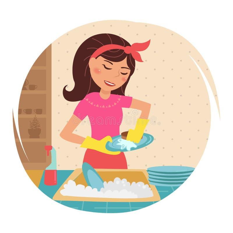 Hausfrau wäscht Teller stock abbildung