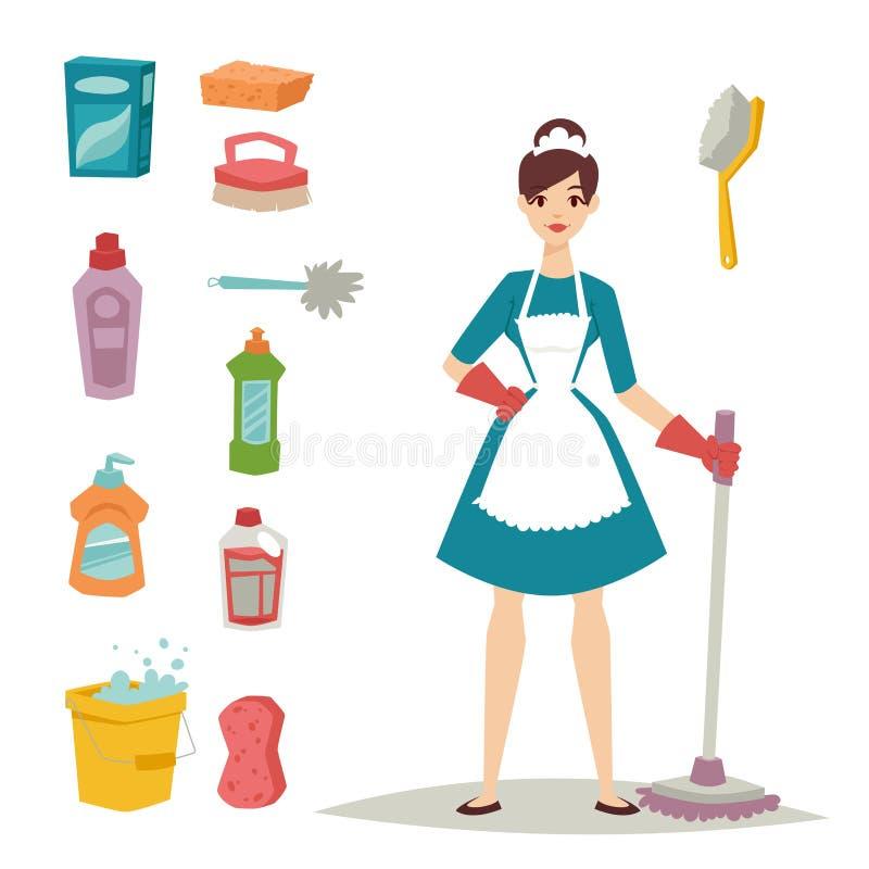 Hausfraumädchenhauswirtschaftsleiterin, die Hausarbeitprodukt-Ausrüstungsvektor des hübschen Mädchenwäschereinigers chemischen sä stock abbildung