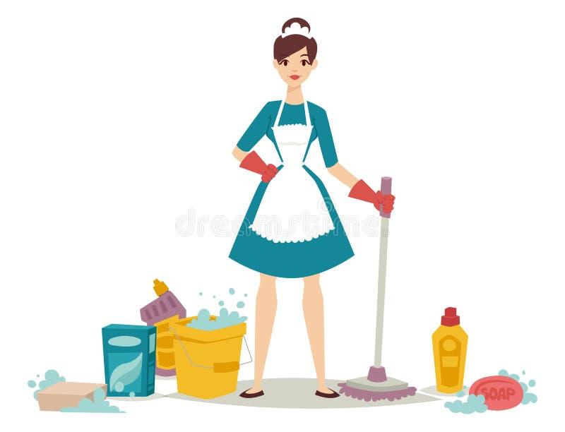 Hausfraumädchenhauswirtschaftsleiterin, die Hausarbeitprodukt-Ausrüstungsvektor des hübschen Mädchenwäschereinigers chemischen sä vektor abbildung