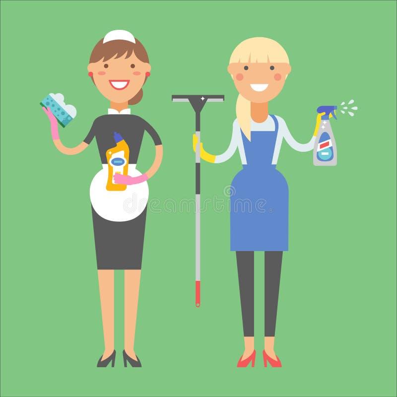 Hausfraumädchenhauswirtschaftsleiterin, die Hausarbeitprodukt-Ausrüstungsvektor des hübschen Mädchenwäschereinigers chemischen sä lizenzfreie abbildung