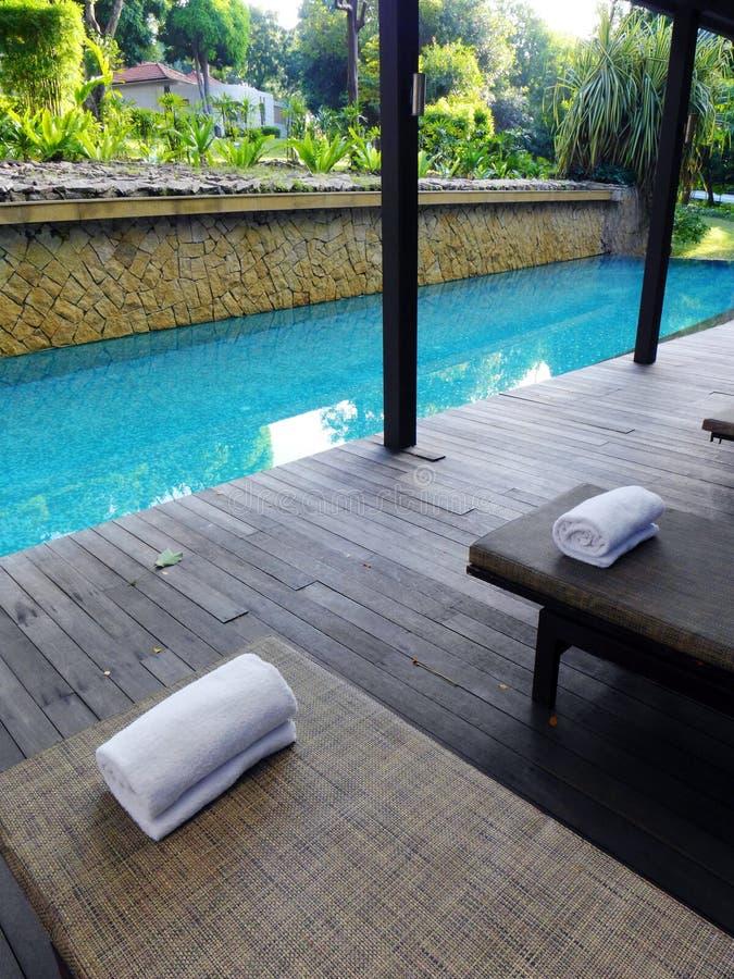 Hausgarten und landschaftlich gestalteter Swimmingpool stockbild