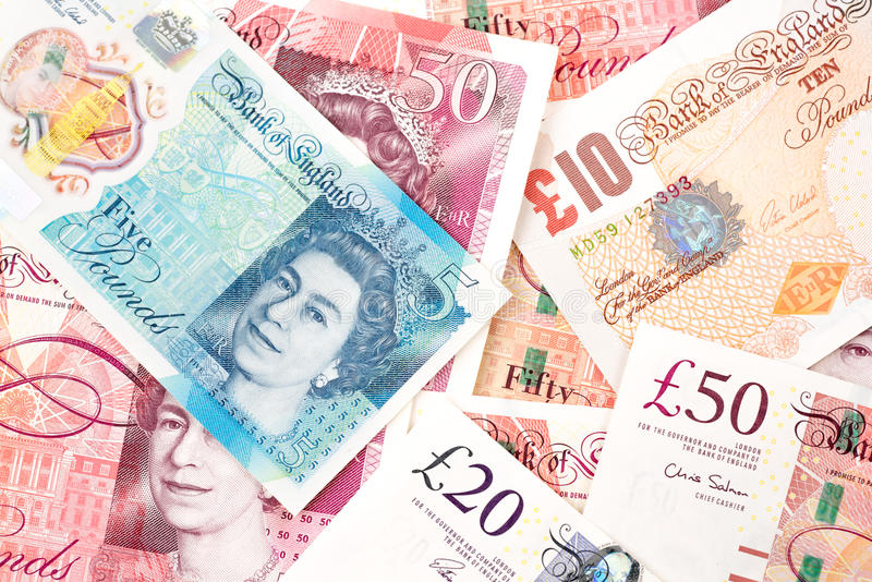 Haushaltpläne des britischen Pfunds von Vereinigtem Königreich im unterschiedlichen Wert lizenzfreies stockfoto