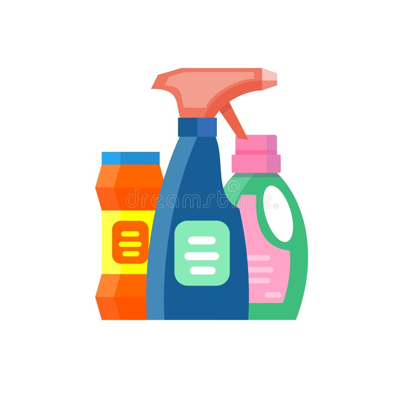 Haushaltschemikalienflaschen verpacken flüssigen inländischen flüssigen Reiniger der Reinigungshausarbeit stock abbildung