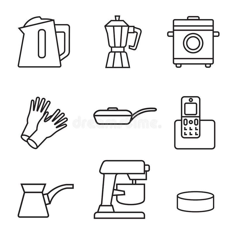 Haushaltsgerät-Ikonensatz Schwarzes Zeichen auf weißem Hintergrund vektor abbildung