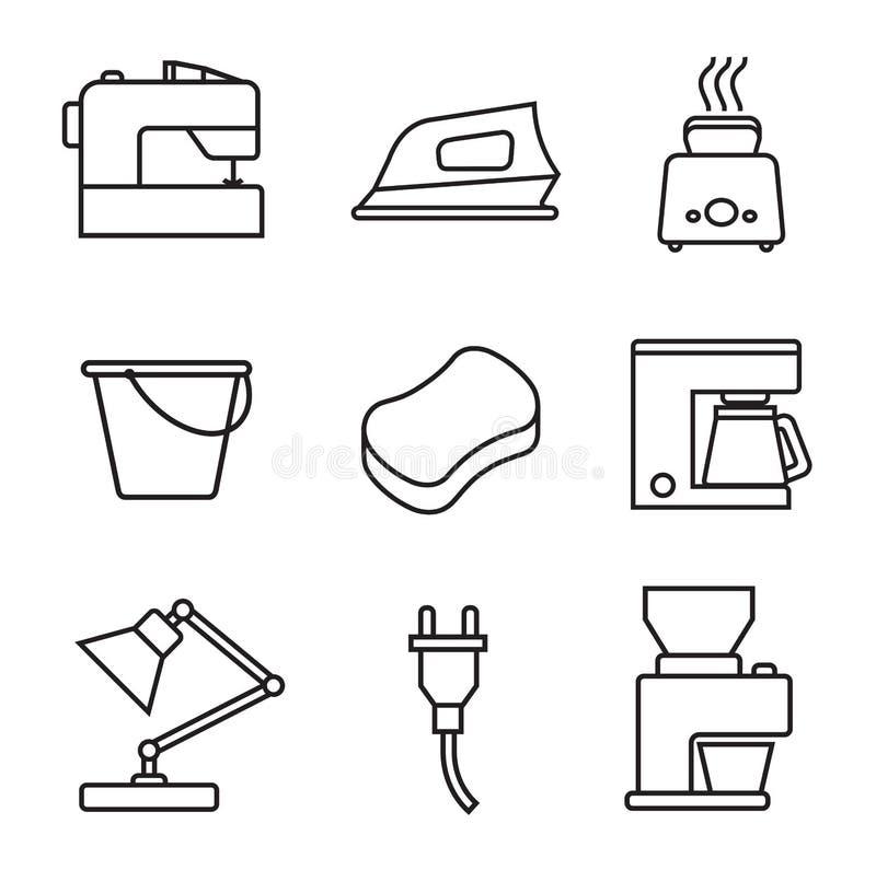 Haushaltsgerät-Ikonensatz Schwarzes Zeichen auf weißem Hintergrund lizenzfreie abbildung