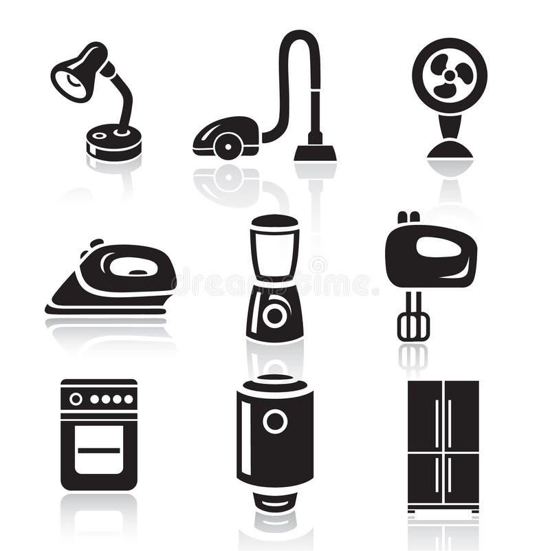 Haushaltsgerät-Ikonensatz Schwarzes Zeichen auf weißem Hintergrund stock abbildung