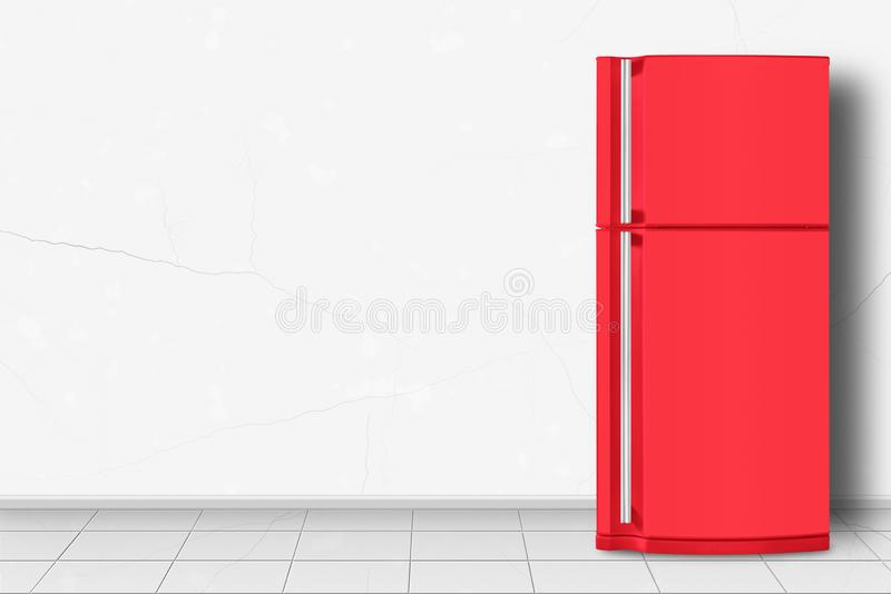 Haushaltsgerät - roter Kühlschrank vor weißer Wand lizenzfreies stockbild