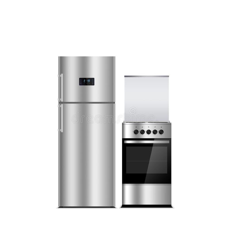 Haushaltsgeräte auf einem weißen Hintergrund Edelstahlfarbkühlschrank und -ofen lokalisiert auf Weiß Silber Kühlschrankgefriersch stock abbildung
