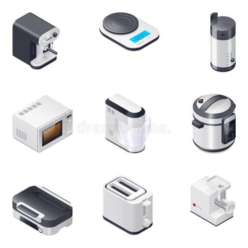 Haushaltsgeräte führten die isometrischen eingestellten Ikonen, Teil 2 einzeln auf stock abbildung