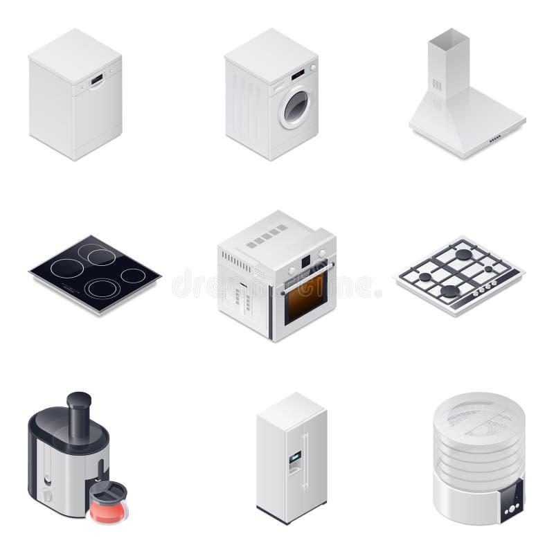 Haushaltsgeräte führten die isometrischen eingestellten Ikonen, Teil 1 einzeln auf stock abbildung