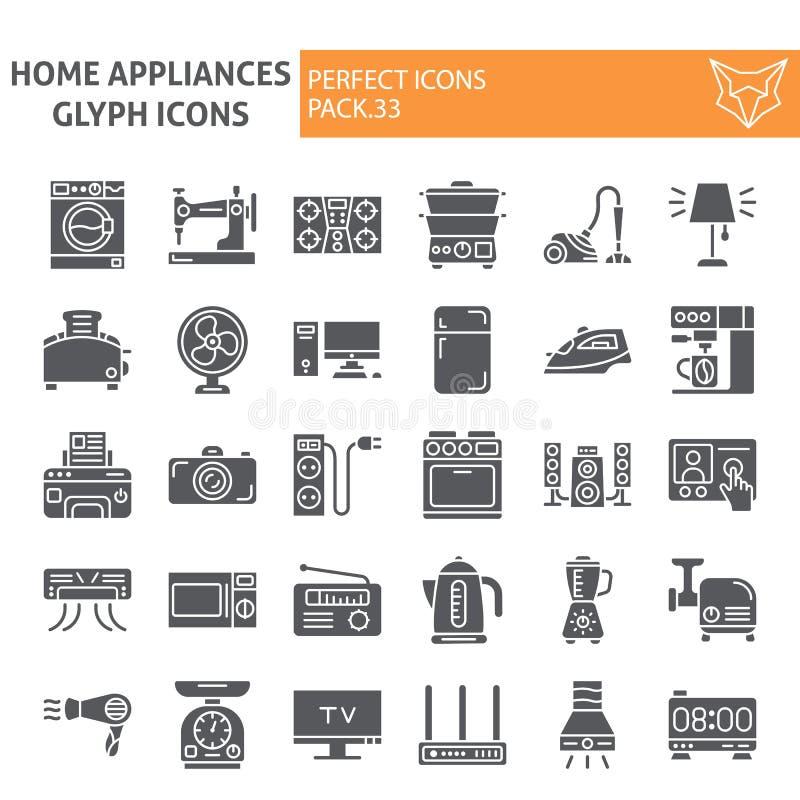 Haushaltsgeräte Glyphikonensatz, Haushaltssymbole Sammlung, Vektorskizzen, Logoillustrationen, Gerätzeichenkörper vektor abbildung