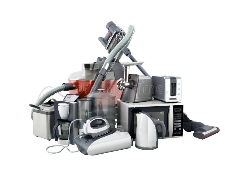 Haushaltsgeräte Gruppe Staubsauger-Mikrowelleneisenkaffee MA stockbilder