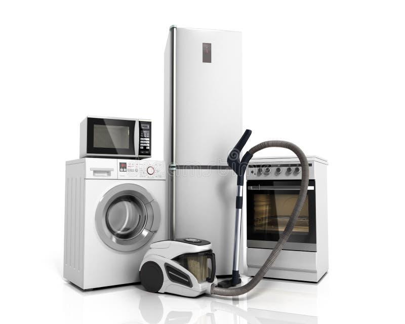 Haushaltsgeräte Gruppe weißes Kühlschrankwaschmaschine stov lizenzfreie abbildung