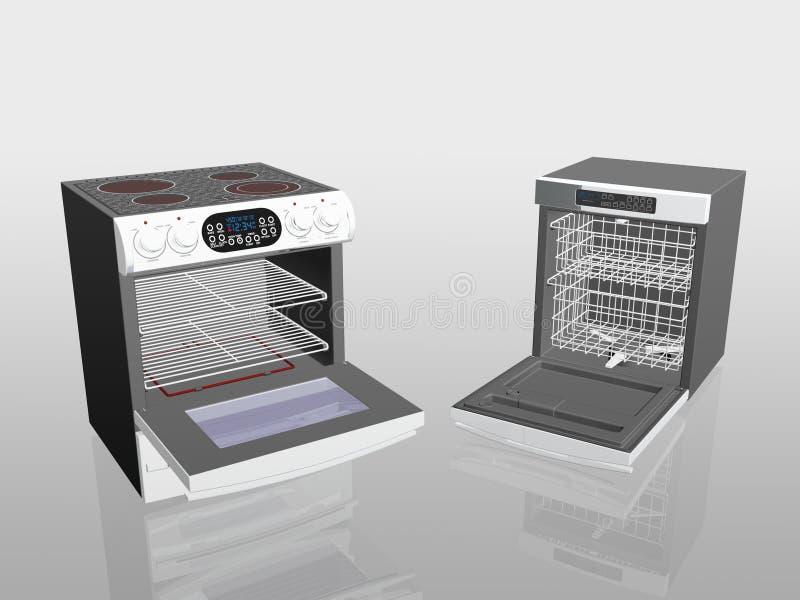 Haushaltsgeräte, Kocher, Ofen, Spülmaschine. stock abbildung