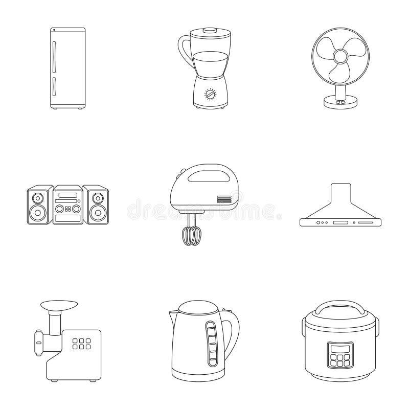 Haushaltsgeräte stellten Ikonen in der Entwurfsart ein Große Sammlung Haushaltsgeräte stock abbildung