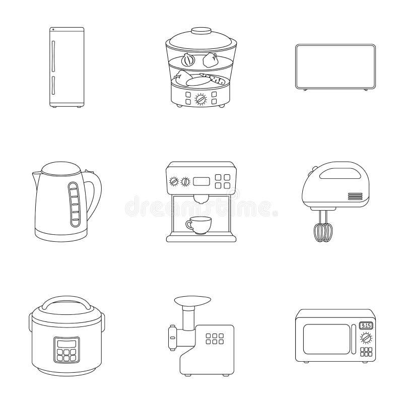 Haushaltsgeräte stellten Ikonen in der Entwurfsart ein Große Sammlung Haushaltsgeräte vector Illustration des Symbols auf Lager stock abbildung