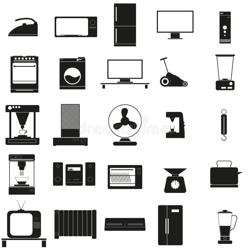 Haushaltsgeräte stellten schwarze Ikone des Vektors auf Weiß ein vektor abbildung