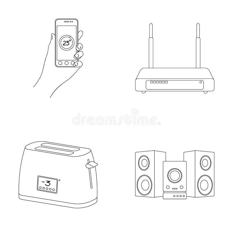 Haushaltsgeräte und Ausrüstung umreißen Ikonen in der Satzsammlung für Design Moderner Haushaltsgerät-Vektorsymbolvorrat vektor abbildung