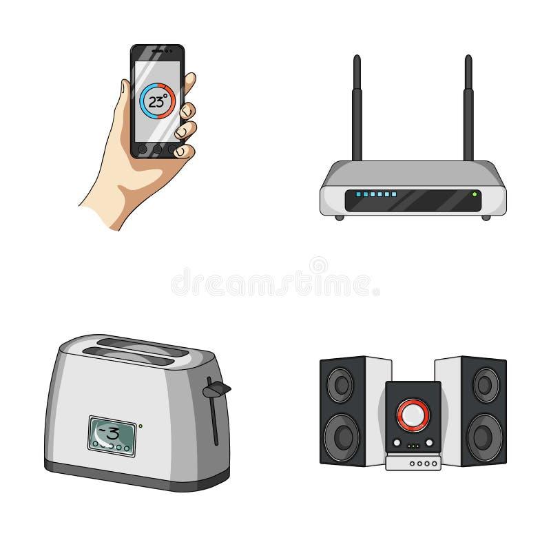 Haushaltsgeräte und Ausrüstungskarikaturikonen in der Satzsammlung für Design Moderner Haushaltsgerät-Vektorsymbolvorrat lizenzfreie abbildung