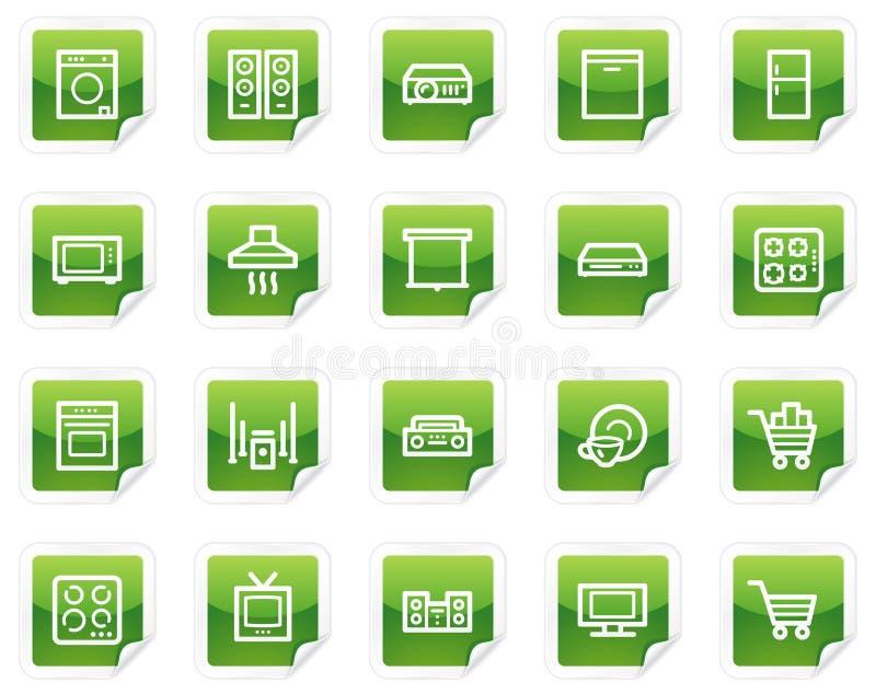 Haushaltsgerätweb-Ikonen, grüne Aufkleberserie vektor abbildung