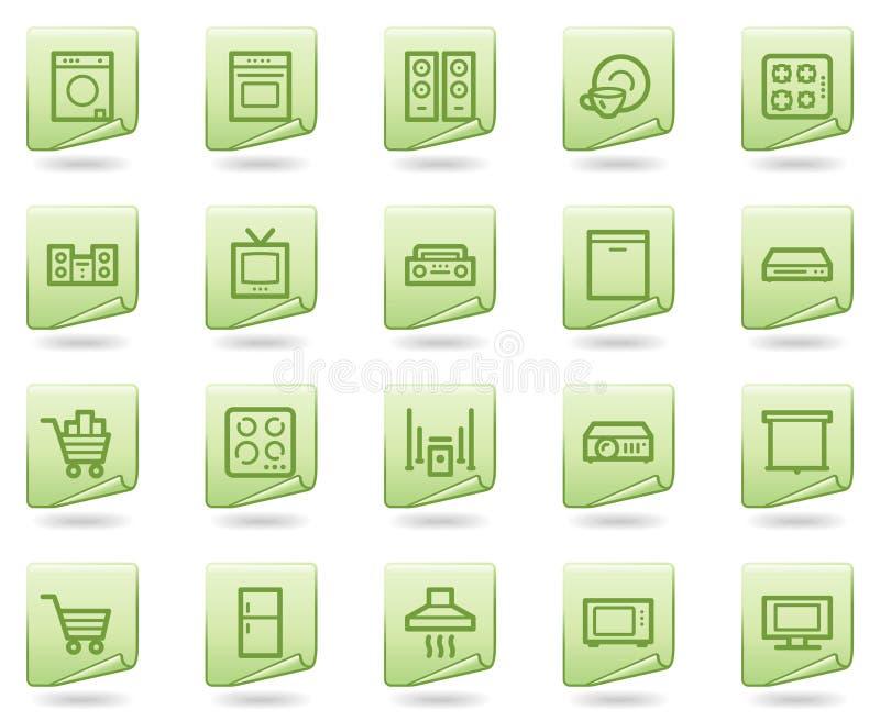 Haushaltsgerätweb-Ikonen, grüne Dokumentenserie vektor abbildung