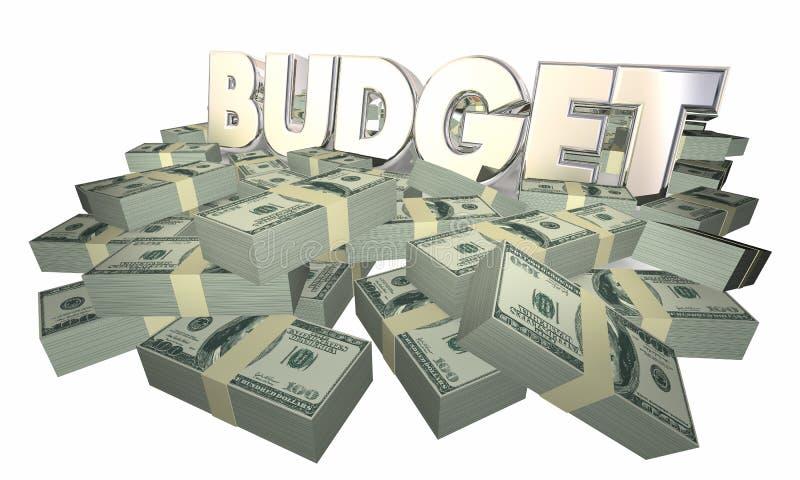 Haushaltsmittel finanziert Bargeld-Ausgaben-Wort vektor abbildung