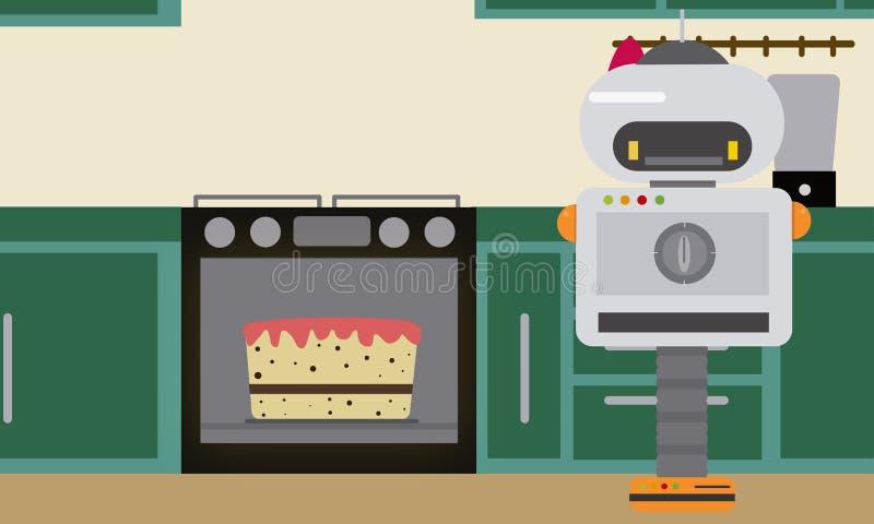 Haushaltsroboter-Backenkuchen an der Küche vektor abbildung