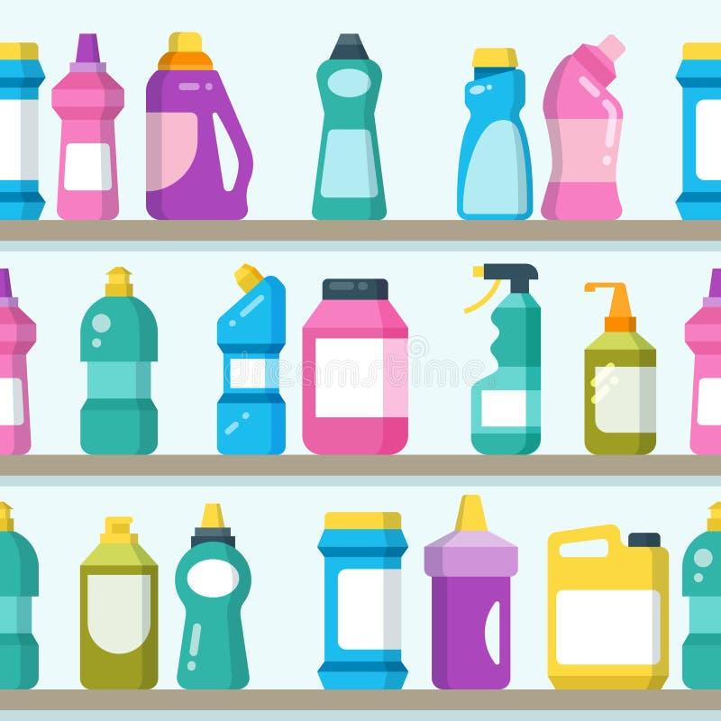 Haushaltswaren und -Putzzeug auf Supermarkt legt nahtlosen Vektorhintergrund beiseite lizenzfreie abbildung