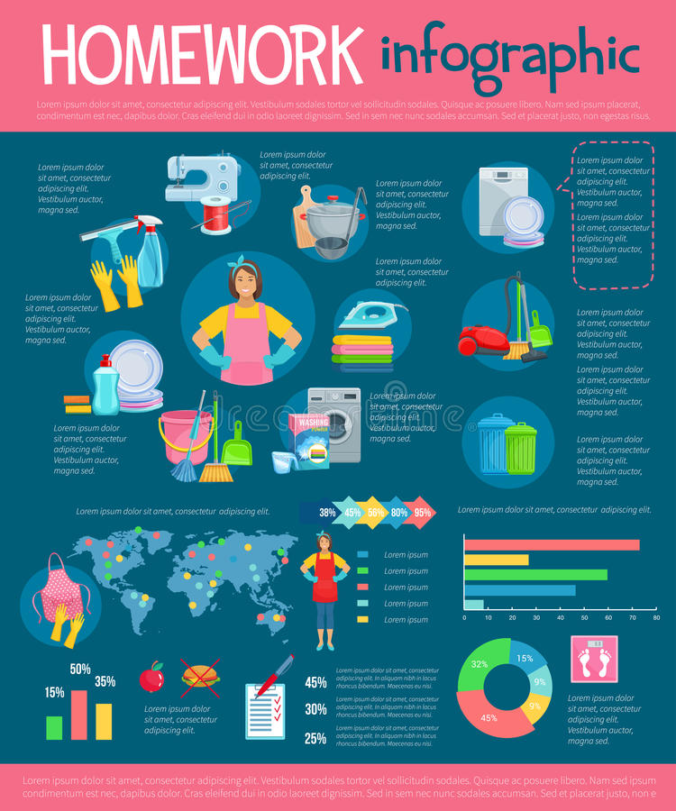 Haushaltung infographic mit Hausarbeitikonen vektor abbildung
