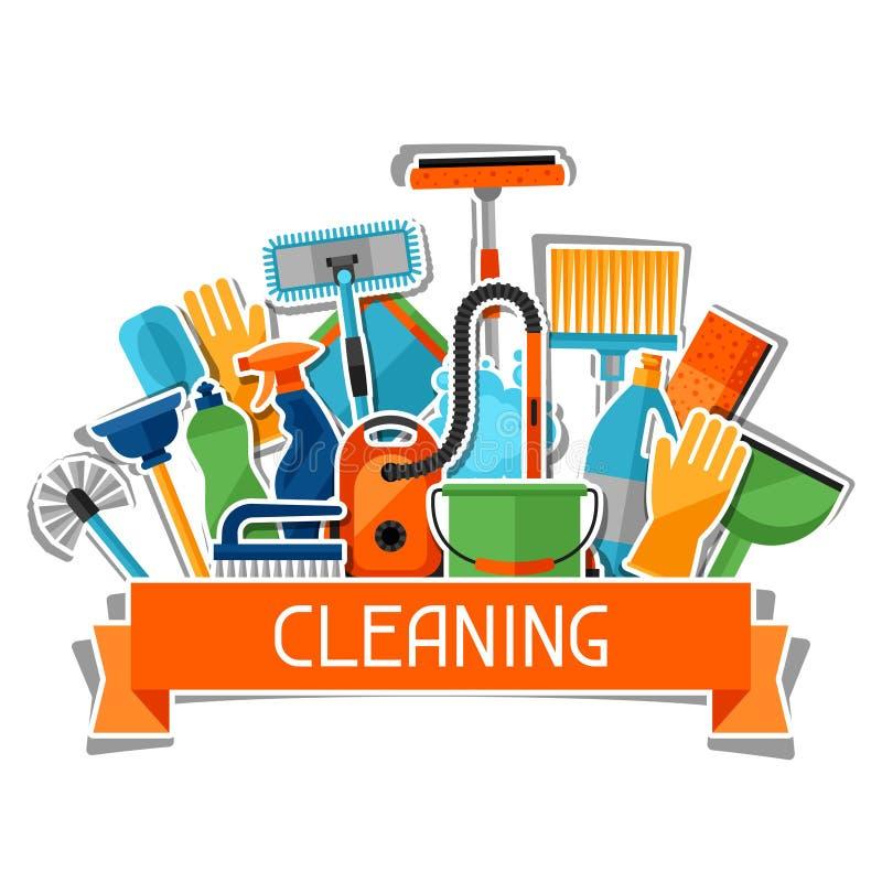 Haushaltungshintergrund mit Reinigungsaufkleberikonen Bild kann auf Werbungsbroschüren, Fahnen, flayers verwendet werden vektor abbildung