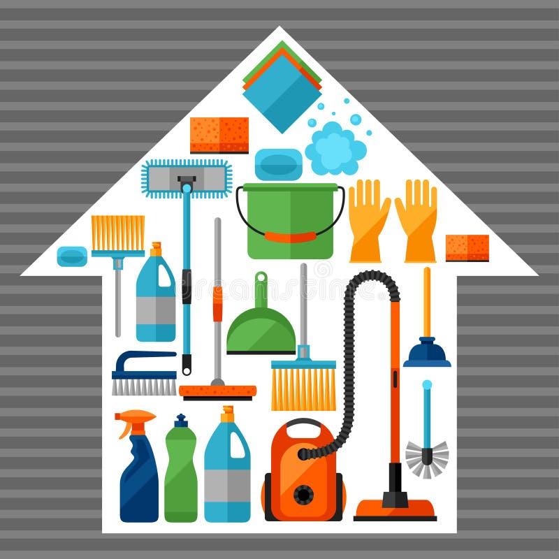 Haushaltungshintergrund mit Reinigungsikonen Bild kann auf Werbungsbroschüren verwendet werden stock abbildung