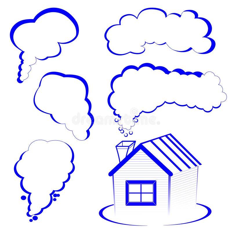Hauslogo mit einem Rauche lizenzfreies stockfoto