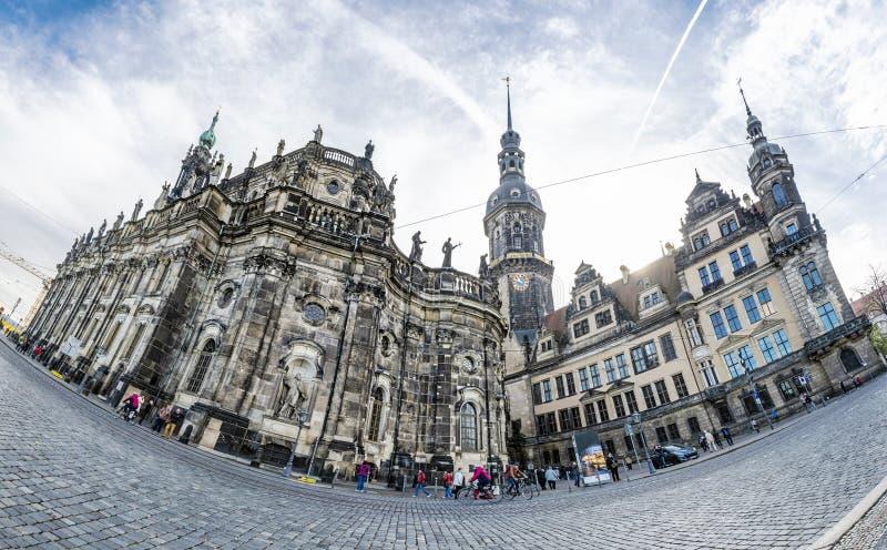 Hausmannsturm, castello di Dresda e cattedrale di Dresda, Germania fotografia stock libera da diritti