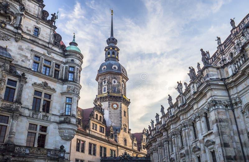 Hausmannsturm (Hausmann-toren) van Residenzschloss (Royal Palace) stock afbeeldingen