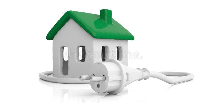 Hausmodell mit dem grüne Farbdach und elektrischem Stecker lokalisiert gegen weißen Hintergrund Abbildung 3D vektor abbildung