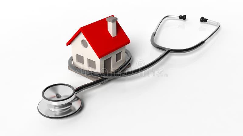 Hausmodell mit Stethoskop stock abbildung