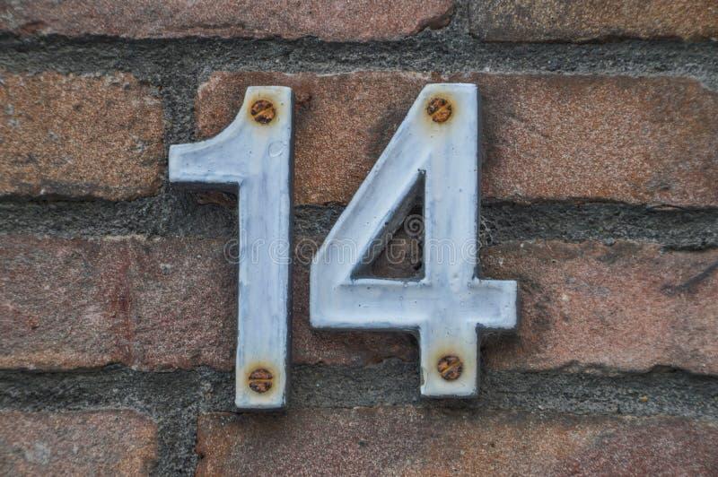 Hausnummer 14 stockfotografie