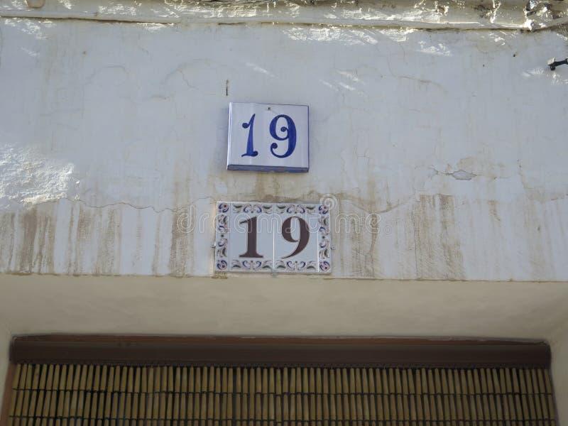 Hausnummer 19 lizenzfreies stockfoto