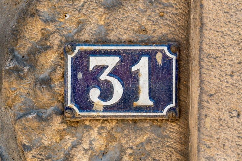 Hausnummer 31 lizenzfreies stockfoto
