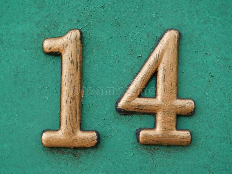 Hausnummer vierzehn lizenzfreie stockfotos