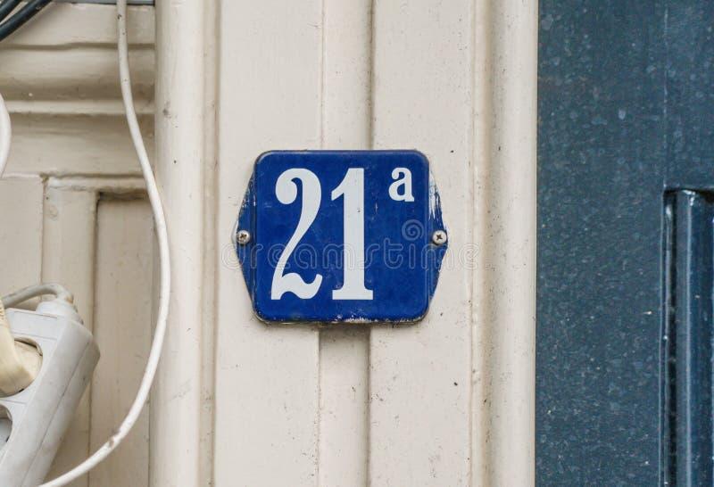 Hausnummer zwanzig eine ein 21a lizenzfreie stockfotos