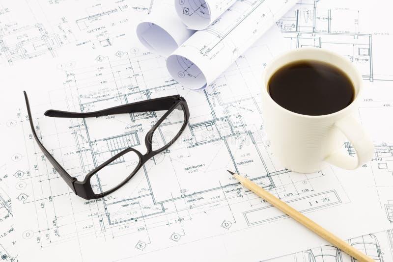 Hauspläne für Architekturgeschäft stockbild
