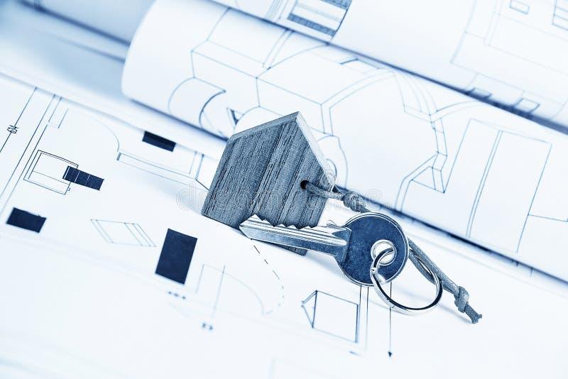 Hausplan und -schlüssel stockfoto